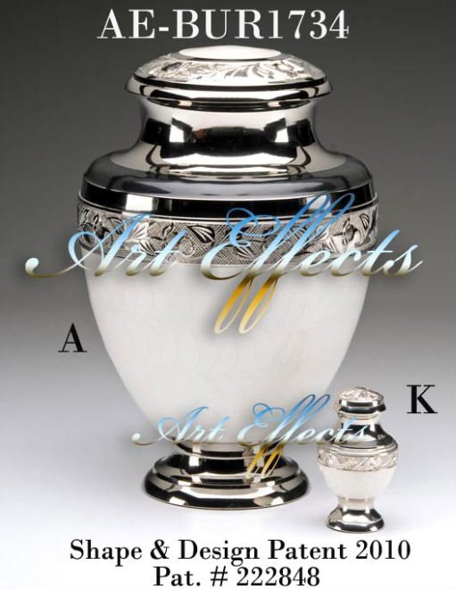Empire White Enamel Brass Cremation Urn
